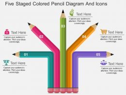 bj Five Staged Colored Pencil Diagram And Icons Flat Powerpoint Design