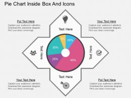 bj Pie Chart Inside Box And Icons Flat Powerpoint Design