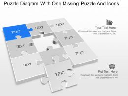 bj Puzzle Diagram With One Missing Puzzle And Icons Powerpoint Template