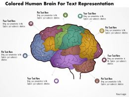 Bk Colored Human Brain For Text Repesentation Powerpoint Template