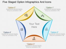 bk Five Staged Option Infographics And Icons Flat Powerpoint Design