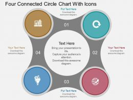 bk Four Connected Circle Chart With Icons Flat Powerpoint Design