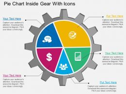 bk Pie Chart Inside Gear With Icons Flat Powerpoint Design