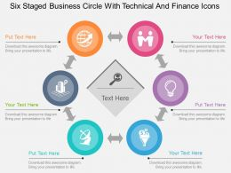 bk Six Staged Business Circle With Technical And Finance Icons Flat Powerpoint Design