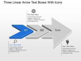 Bk Three Linear Arrow Text Boxes With Icons Powerpoint Template