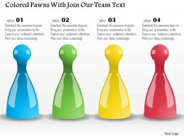 Bl Colored Pawns With Join Our Team Text Powerpoint Template