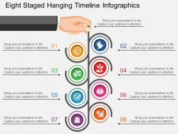 bl Eight Staged Hanging Timeline Infographics Flat Powerpoint Design
