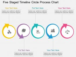 bl Five Staged Timeline Circle Process Chart Flat Powerpoint Design