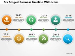 Bl Six Staged Business Timeline With Icons Powerpoint Templets