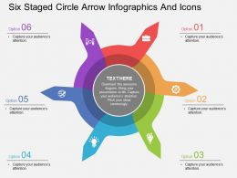 bl Six Staged Circle Arrow Infographics And Icons Flat Powerpoint Design