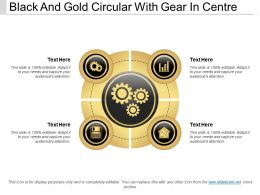 Black And Gold Circular With Gear In Centre