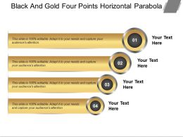 Black And Gold Four Points Horizontal Parabola