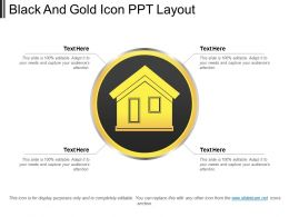 Black And Gold Icon Ppt Layout