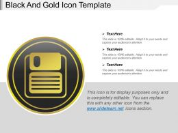 Black And Gold Icons Template Slide