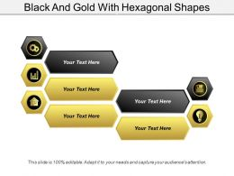 Black And Gold With Hexagonal Shapes