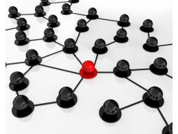 Black And Red Balls In Network With Leadership Concept Stock Photo