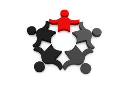 Black And Red Icons For Team And Leadership Stock Photo