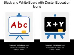 Black And White Board With Duster Education Icons