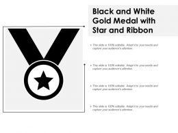 Black And White Gold Medal With Star And Ribbon