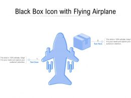 Black Box Icon With Flying Airplane