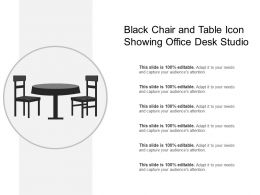 Black Chair And Table Icon Showing Office Desk Studio
