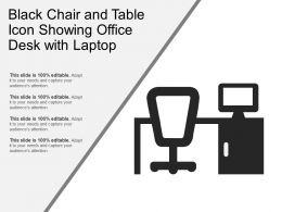 Black Chair And Table Icon Showing Office Desk With Laptop