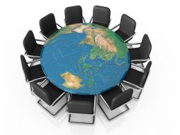 Black Chairs On Globe Shows Business Meeting Stock Photo