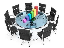 Black Chairs With Colored Bar Graph Stock Photo