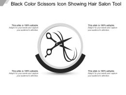 Black Color Scissors Icon Showing Hair Salon Tool