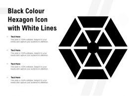 Black Colour Hexagon Icon With White Lines