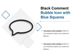 Black Comment Bubble Icon With Blue Squares