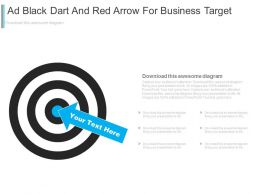 Black Dart And Arrow For Business Target Powerpoint Slides