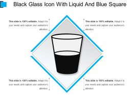 Black Glass Icon With Liquid And Blue Square