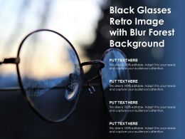 Black Glasses Retro Image With Blur Forest Background