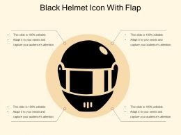 Black Helmet Icon With Flap