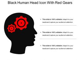 Black Human Head Icon With Red Gears