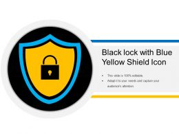 Black Lock With Blue Yellow Shield Icon