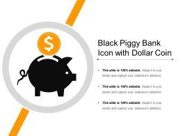 Black Piggy Bank Icon With Dollar Coin