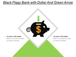 Black Piggy Bank With Dollar And Green Arrow