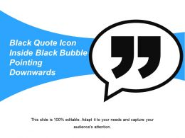 Black Quote Icon Inside Black Bubble Pointing Downwards