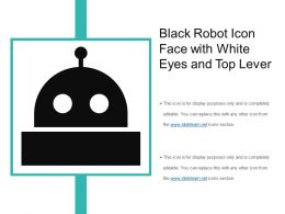Black Robot Icon Face With White Eyes And Top Lever
