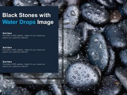 Black Stones With Water Drops Image