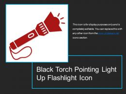 Black Torch Pointing Light Up Flashlight Icon