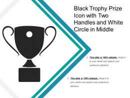 Black Trophy Prize Icon With Two Handles And White Circle In Middle