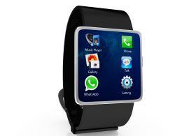 Black Watch With Icons Of Apps And Games Stock Photo