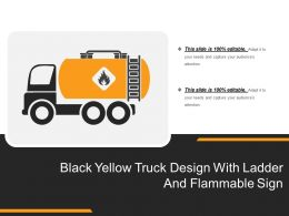 Black Yellow Truck Design With Ladder And Flammable Sign