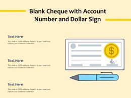 Blank Cheque With Account Number And Dollar Sign