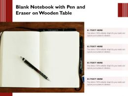 Blank Notebook With Pen And Eraser On Wooden Table