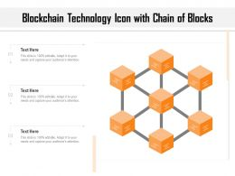 Blockchain Technology Icon With Chain Of Blocks