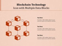 Blockchain Technology Icon With Multiple Data Blocks